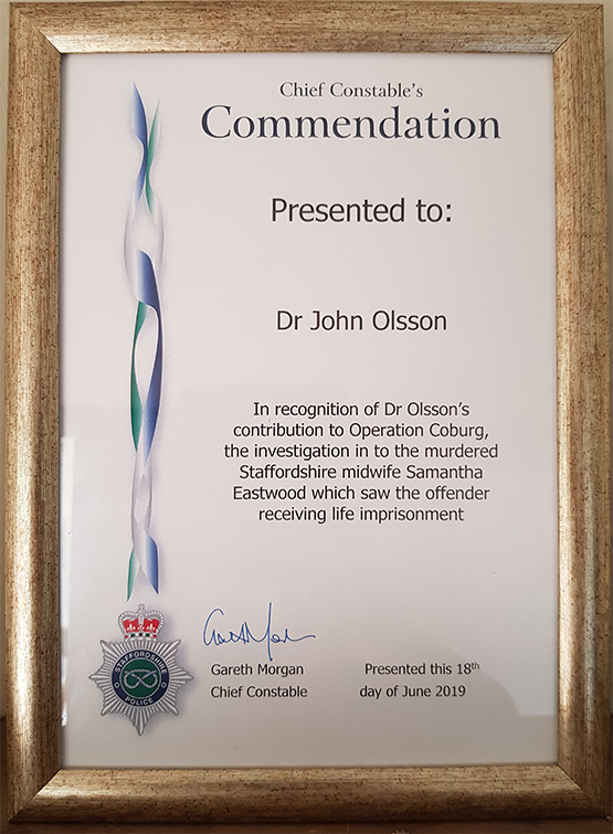Dr Olsson awarded Chief Constable's Commendation